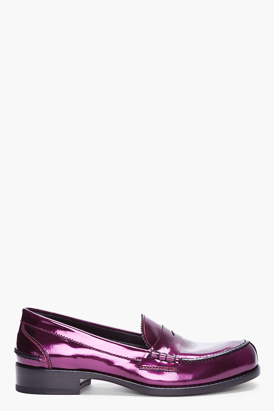 Lyst Jil Sander Mirto Metallic Leather Penny Loafers In