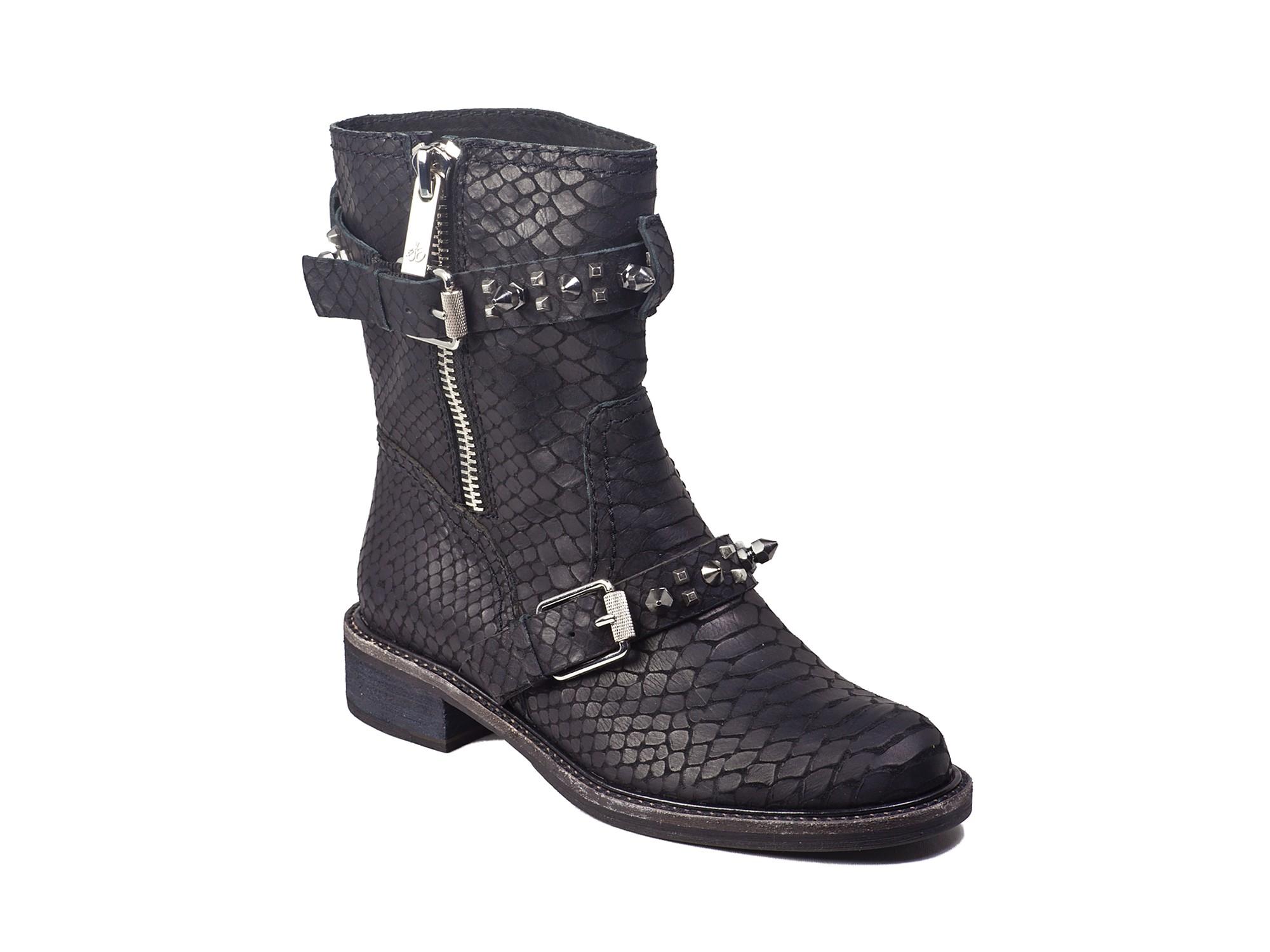 Sam Edelman Moto Boots Adele Stud Embossed In Black Lyst
