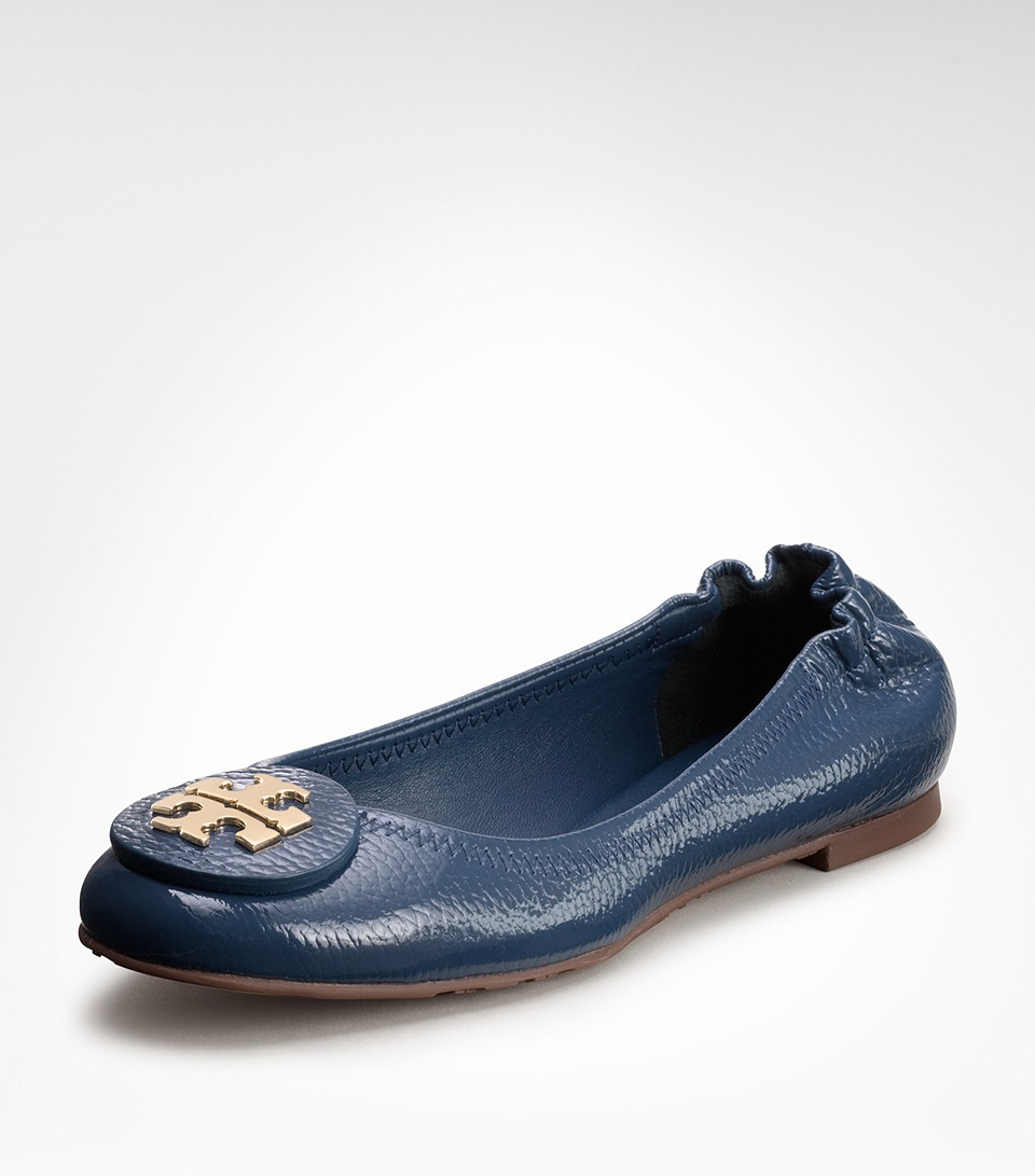 5ef43e326f404 Lyst - Tory Burch Tumbled Patent Leather Reva Ballet Flat in Blue