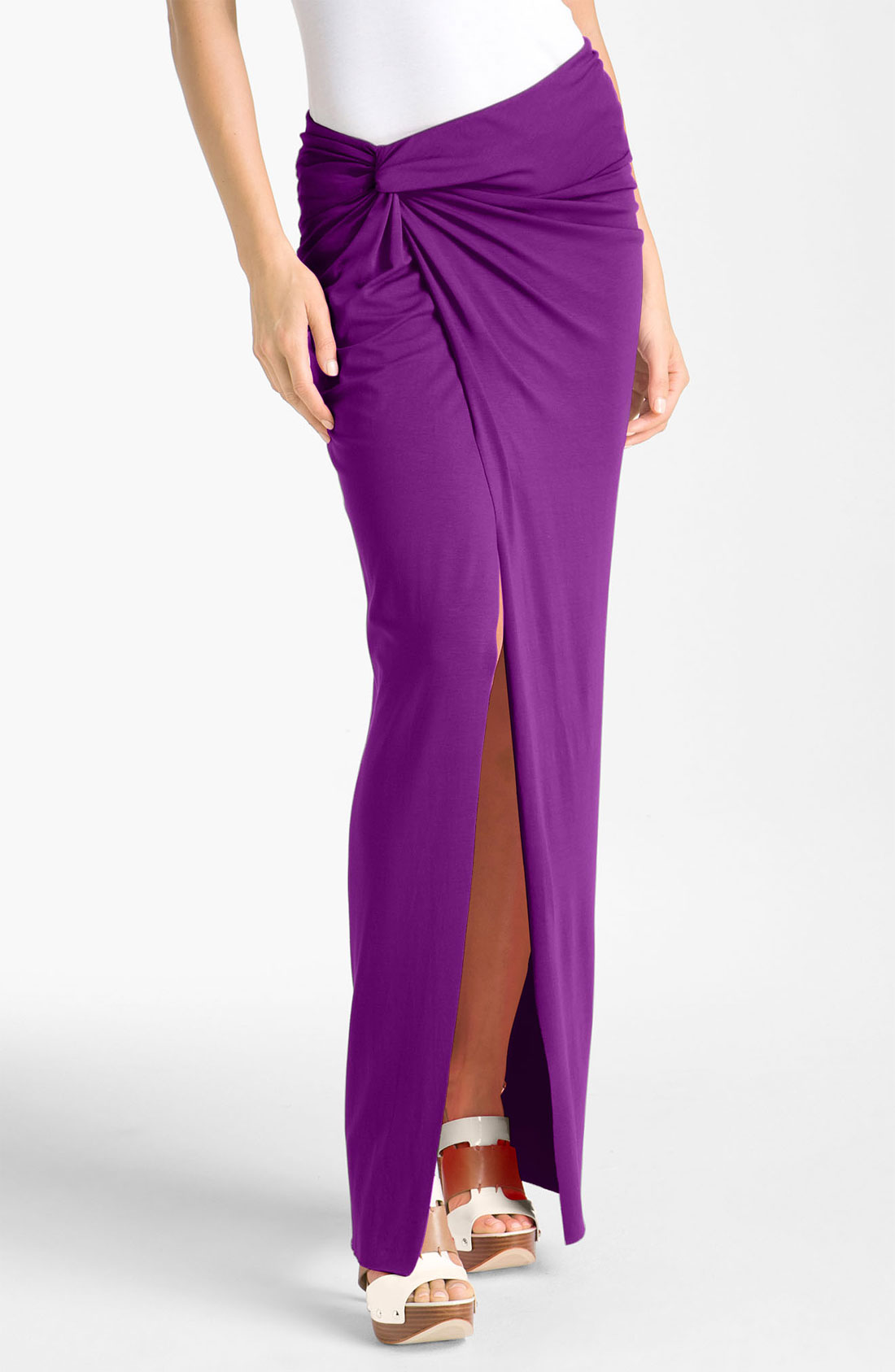 vince camuto sarong maxi skirt in purple plum lyst