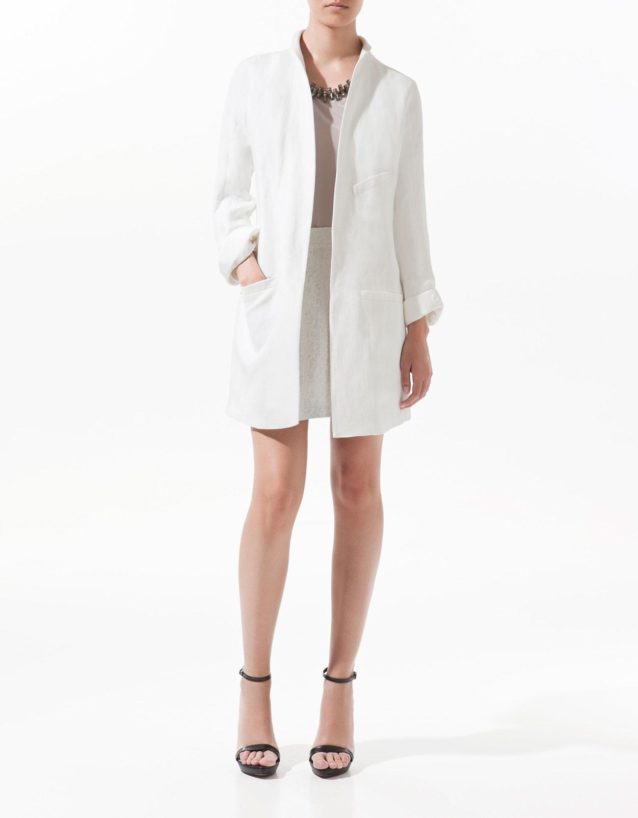 Zara Oversized Linen Coat In White Lyst
