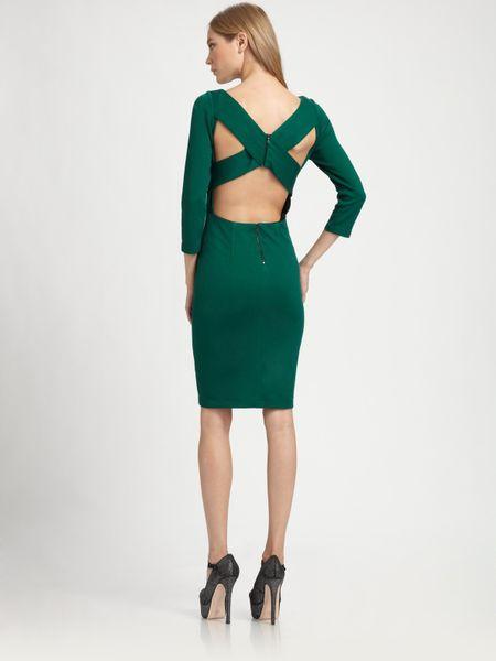 Alice Olivia Reid Crossback Dress In Green Forest Lyst