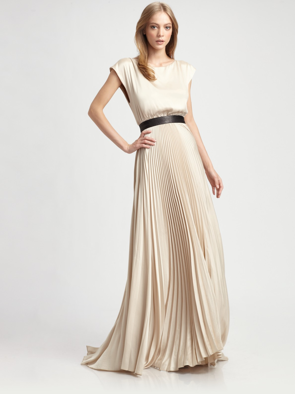 Alice Olivia Maxi Dress Triss Pleated With Leather Belt