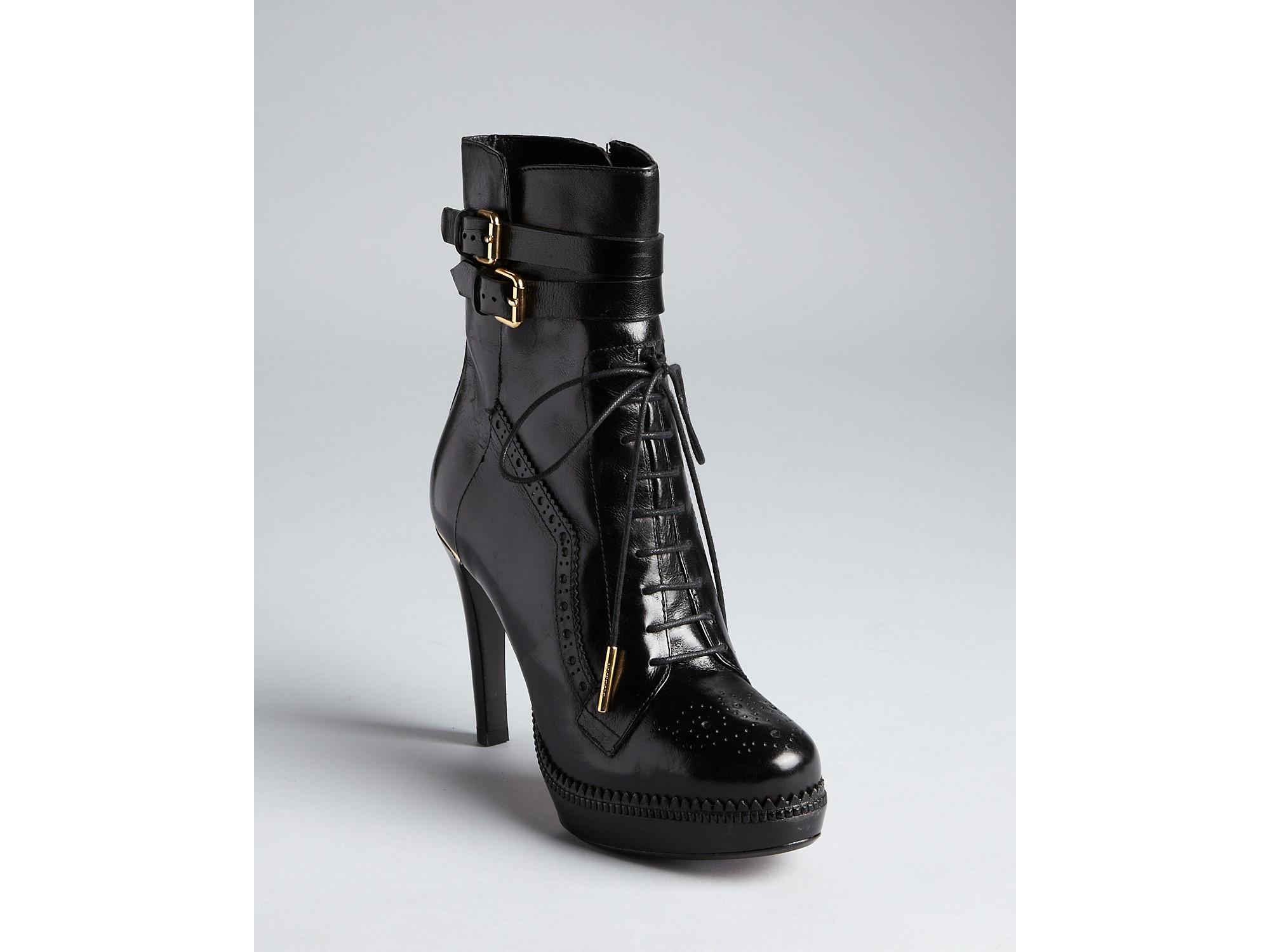 840d5f63eef1e Burberry Black Ankle Boots Brogue Daleside Lace Up Platform