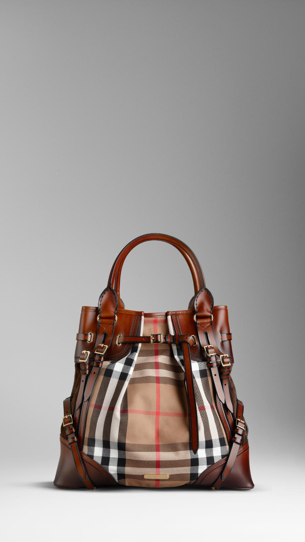 Lyst - Burberry Large Bridle House Check Whipstitch Tote Bag in Brown a77ff352607b3