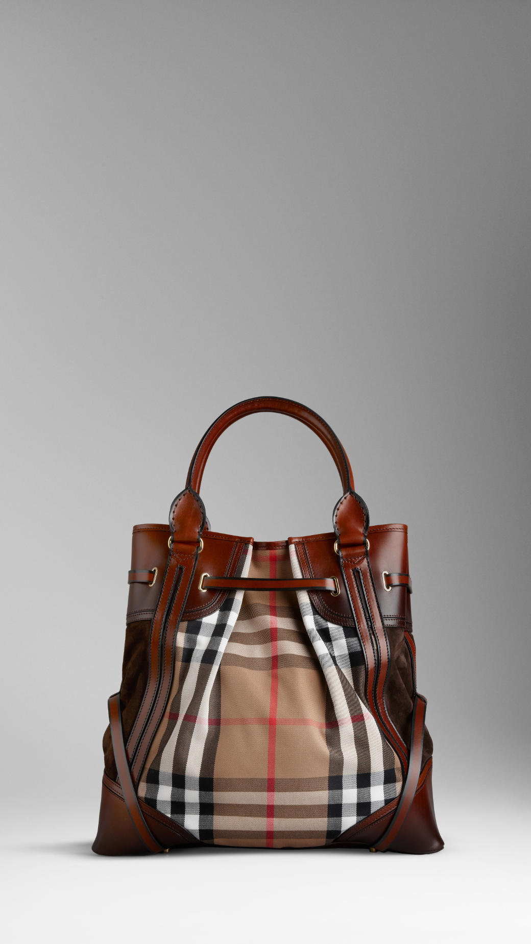 Burberry Large Bridle House Check Whipstitch Tote Bag in Dark Tan (Brown)