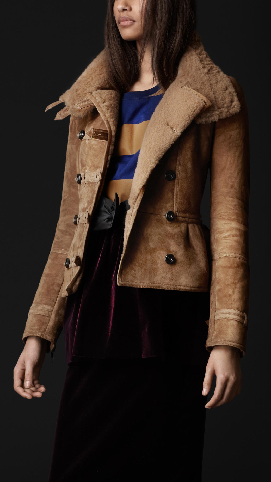 Lyst Burberry Prorsum Sueded Shearling Military Jacket
