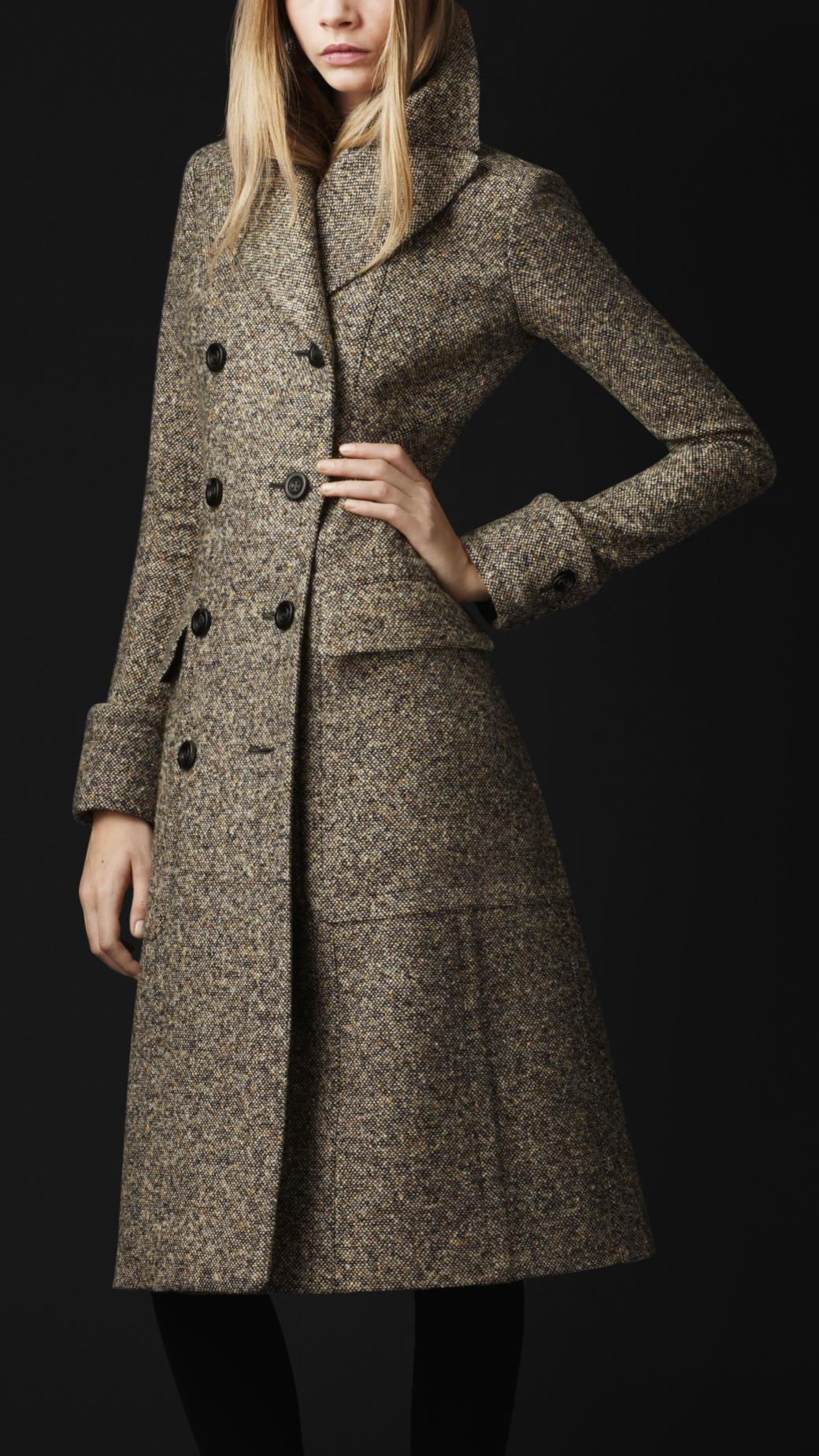 Burberry Prorsum Runway London Fashion Week Aw14: Burberry Prorsum Wool Silk Tweed Greatcoat In Gray (yellow