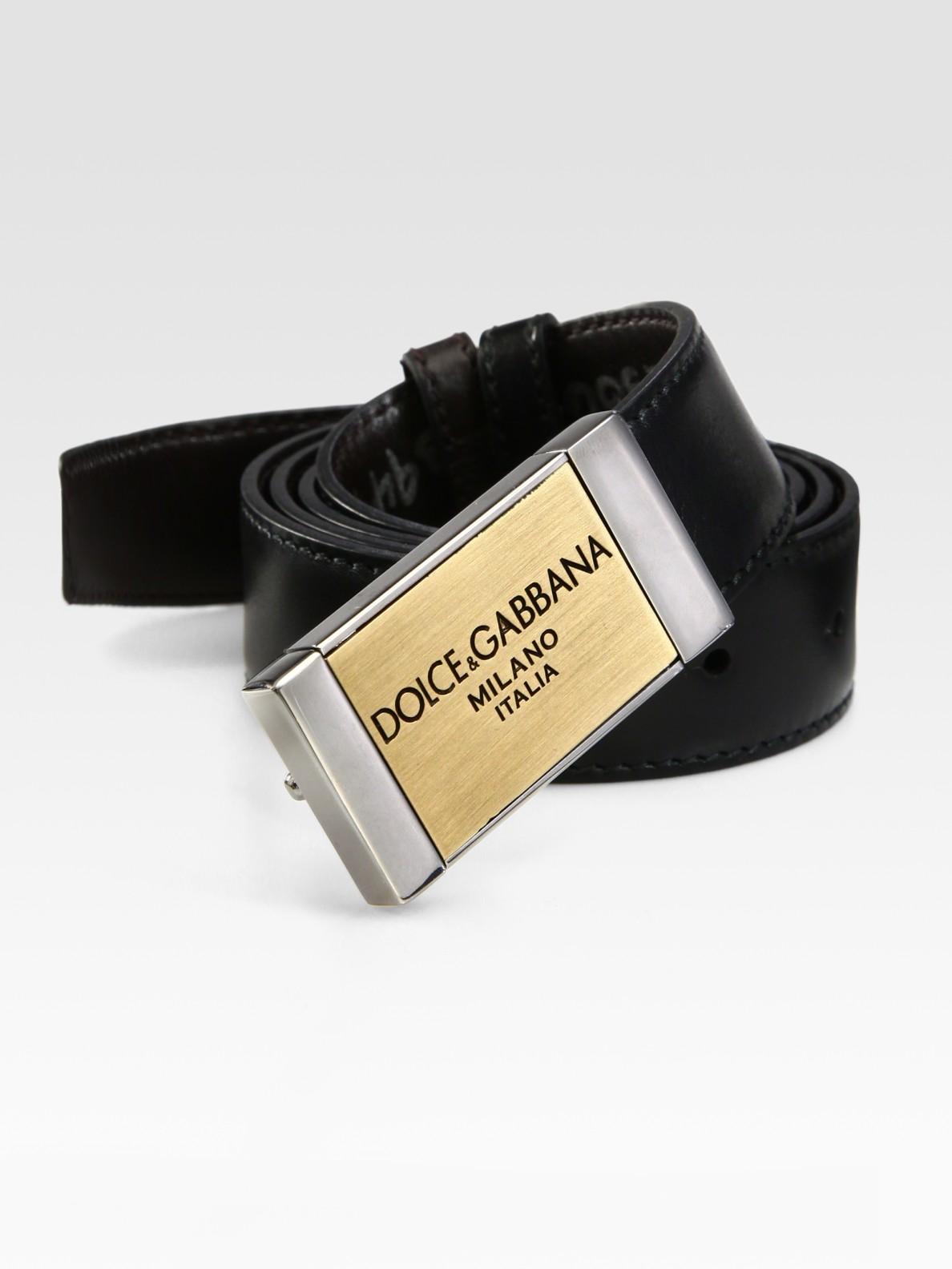 Lyst Dolce Amp Gabbana Plaque Belt In Black For Men