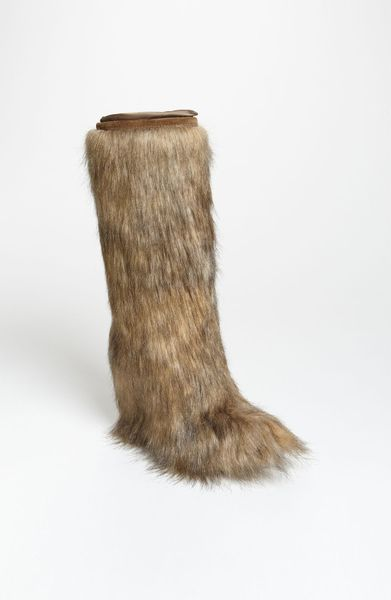 prada wedge faux fur boot in brown lyst