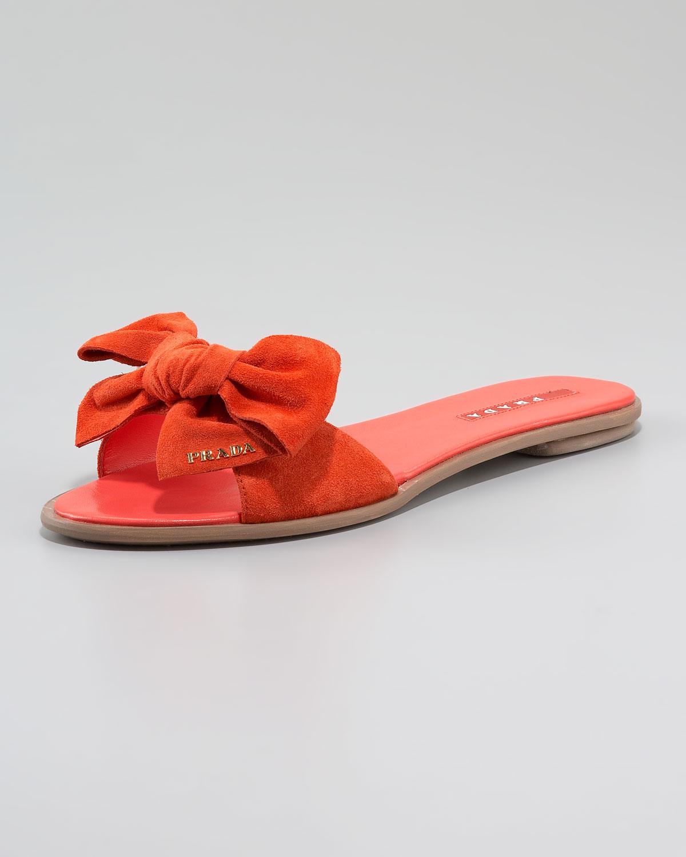 Prada Suede Bow Slide Sandal in Pink - Lyst
