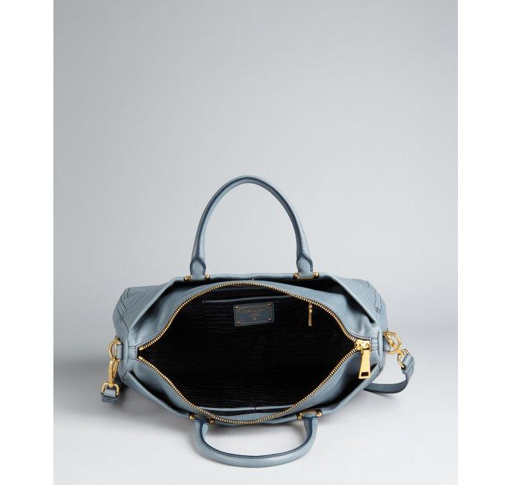 Prada Slate Blue Leather Logo Messenger Crossbody Bag in Gray ...