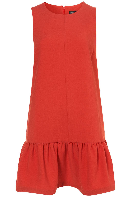 Topshop Drop Waist Shift Dress In Red Lyst