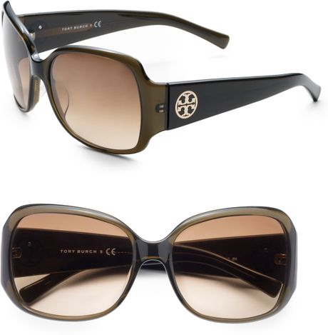 Tory Burch Square Sunglasses in Green (olive) - Lyst