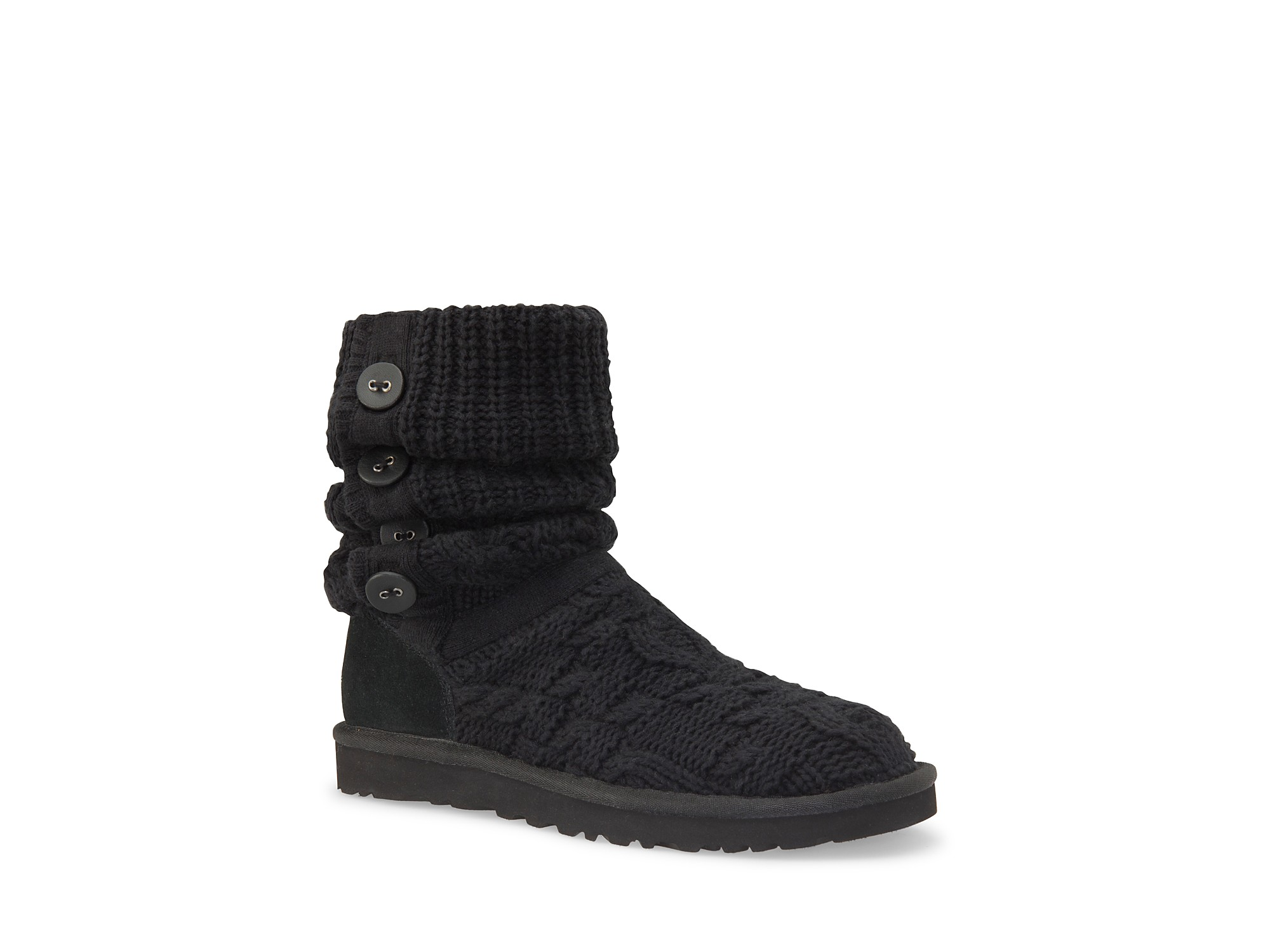 ugg boots leland knit foldover in black lyst