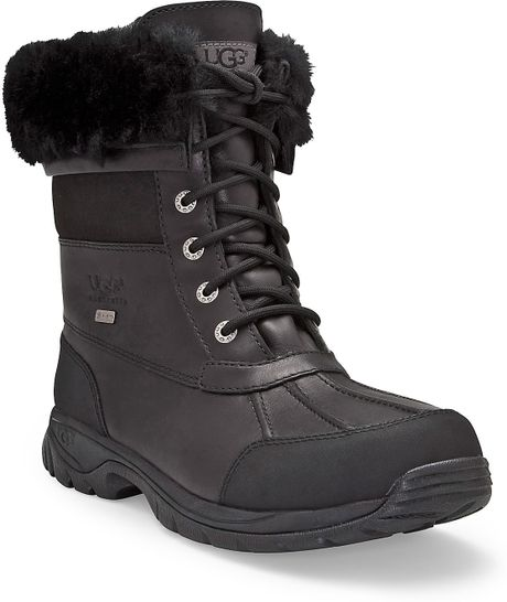 ugg mens butte waterproof leather boots in black for
