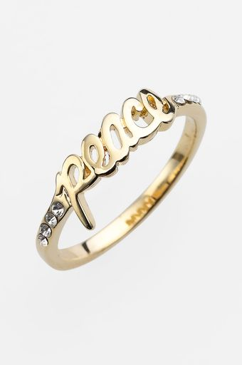 Ariella Collection Messages Peace Script Ring - Lyst