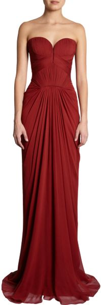 J. Mendel Sweetheart Bodice Gown in Brown - Lyst