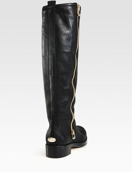 jimmy choo doreen leather knee high biker boots in