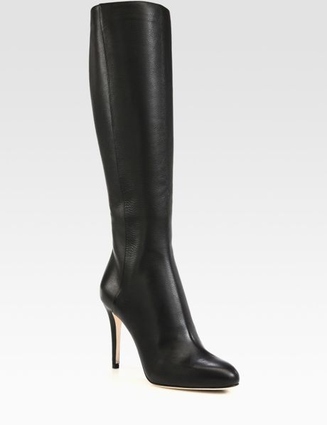 jimmy choo leather knee high boots in black lyst