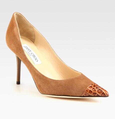 Jimmy Choo Alias Suede Crocodileembossed Leather Pumps in Beige (camel)