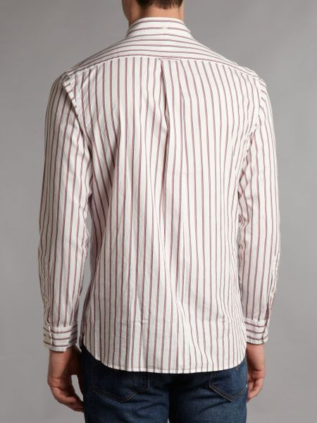 Polo Ralph Lauren Long Sleeved Red And Blue Striped Shirt