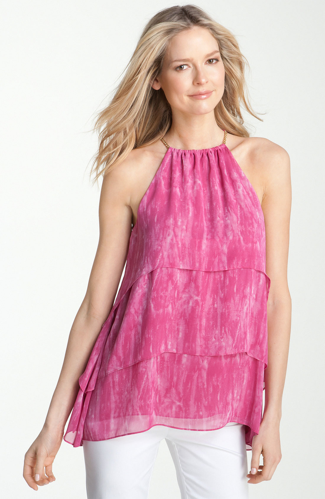 Michael michael kors Tiered Halter Blouse in Pink