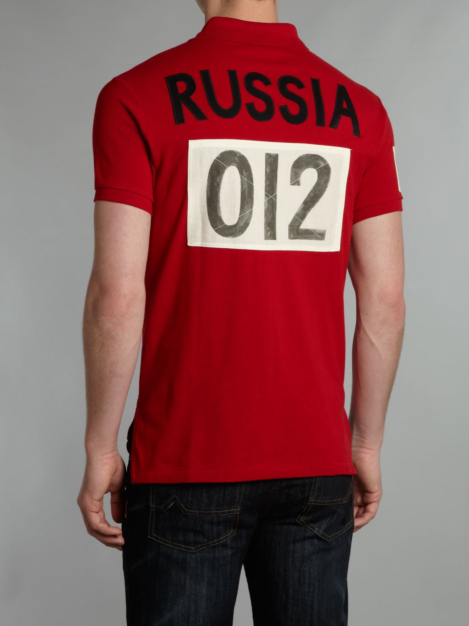Russian Homme Ralph rouge Manches Polo Lauren Russia 3Lc4jq5AR