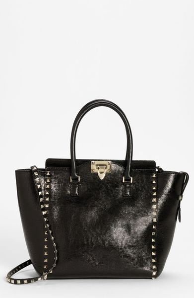 Valentino Rockstud Small Textured Leather Tote in Black