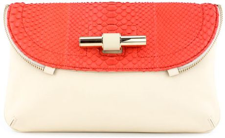 Jimmy Choo Python and Leather Clutch Org Now in Pink - Lyst