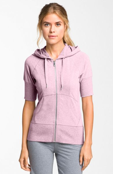 Zella Supersoft Short Sleeve Hoodie in Pink (pink fairytale)