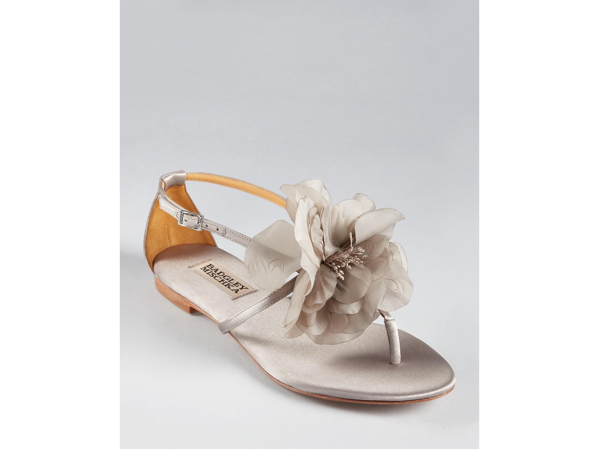 Lyst badgley mischka sandals zowie flat flower in black gallery mightylinksfo