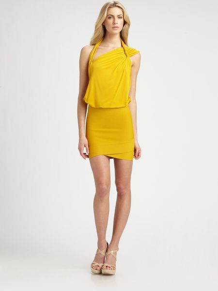 Bcbgmaxazria Roslyn Abstract Halter Top in Yellow (saffron)