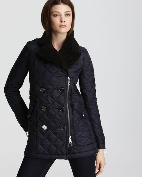 Burberry Quilted Jacket With Shearling In Blue Military