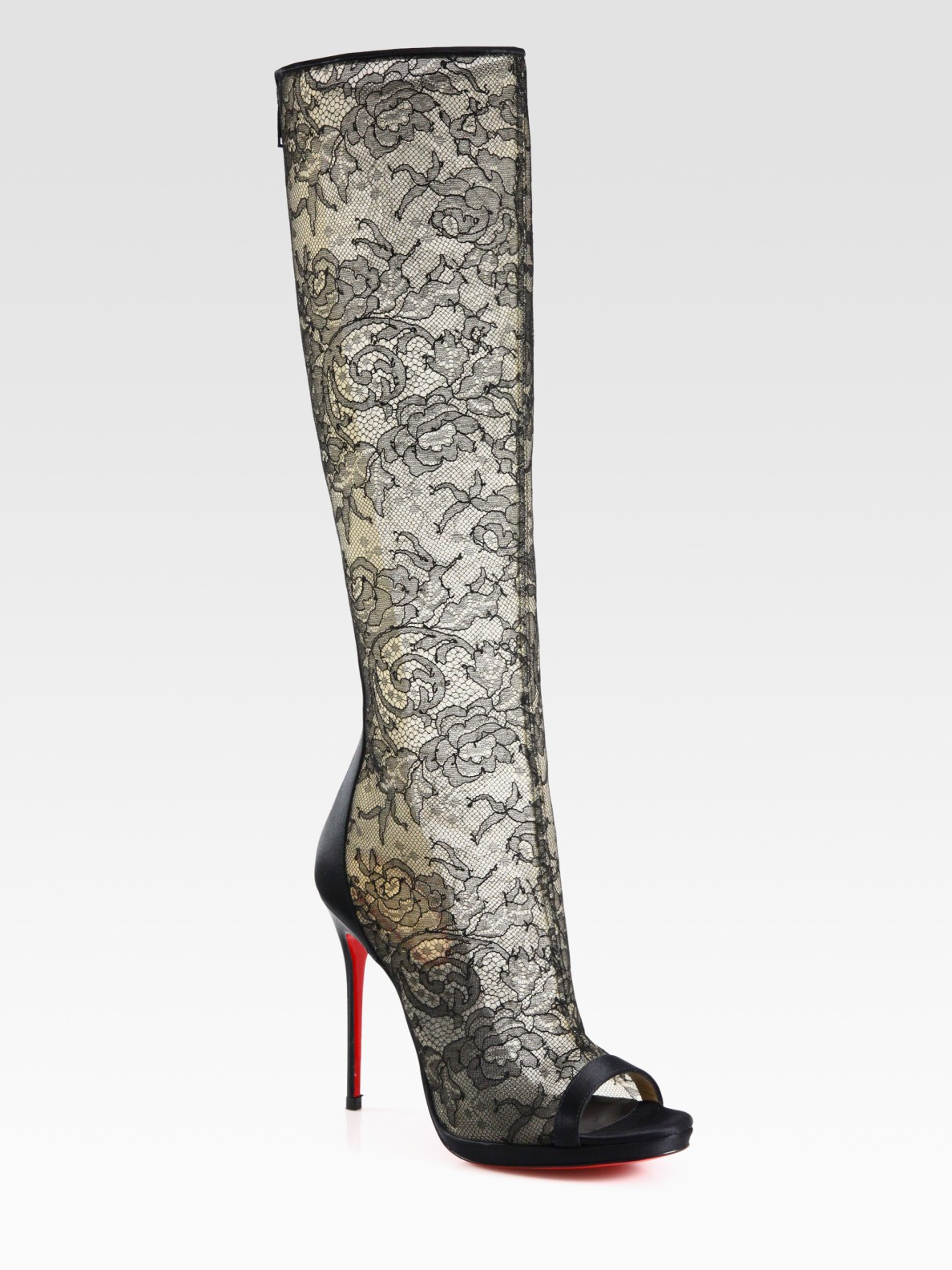 christian louboutin alta lace and satin knee high boots in