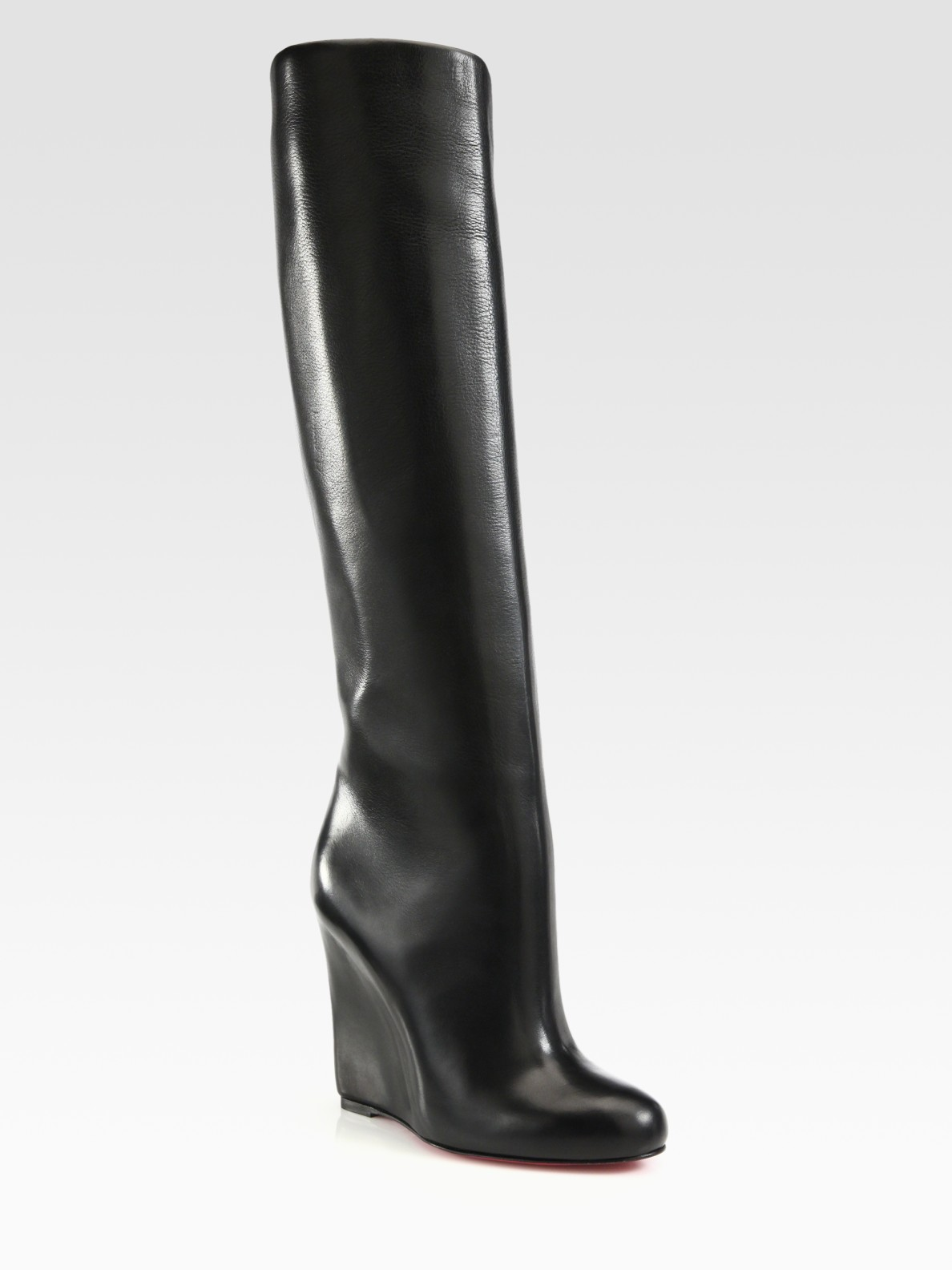 754ad4d2d94 Christian Louboutin Black Leather Overtheknee Wedge Boots