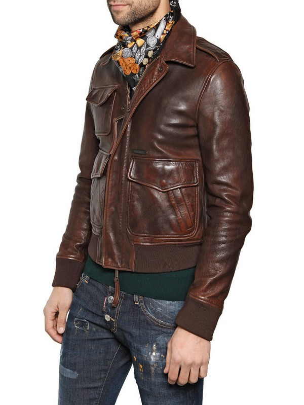 Lyst Dsquared 178 Calfskin Leather Jacket In Brown For Men