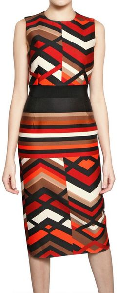 Giambattista Valli Printed Wool Silk Gauze Dress in Multicolor (multi)