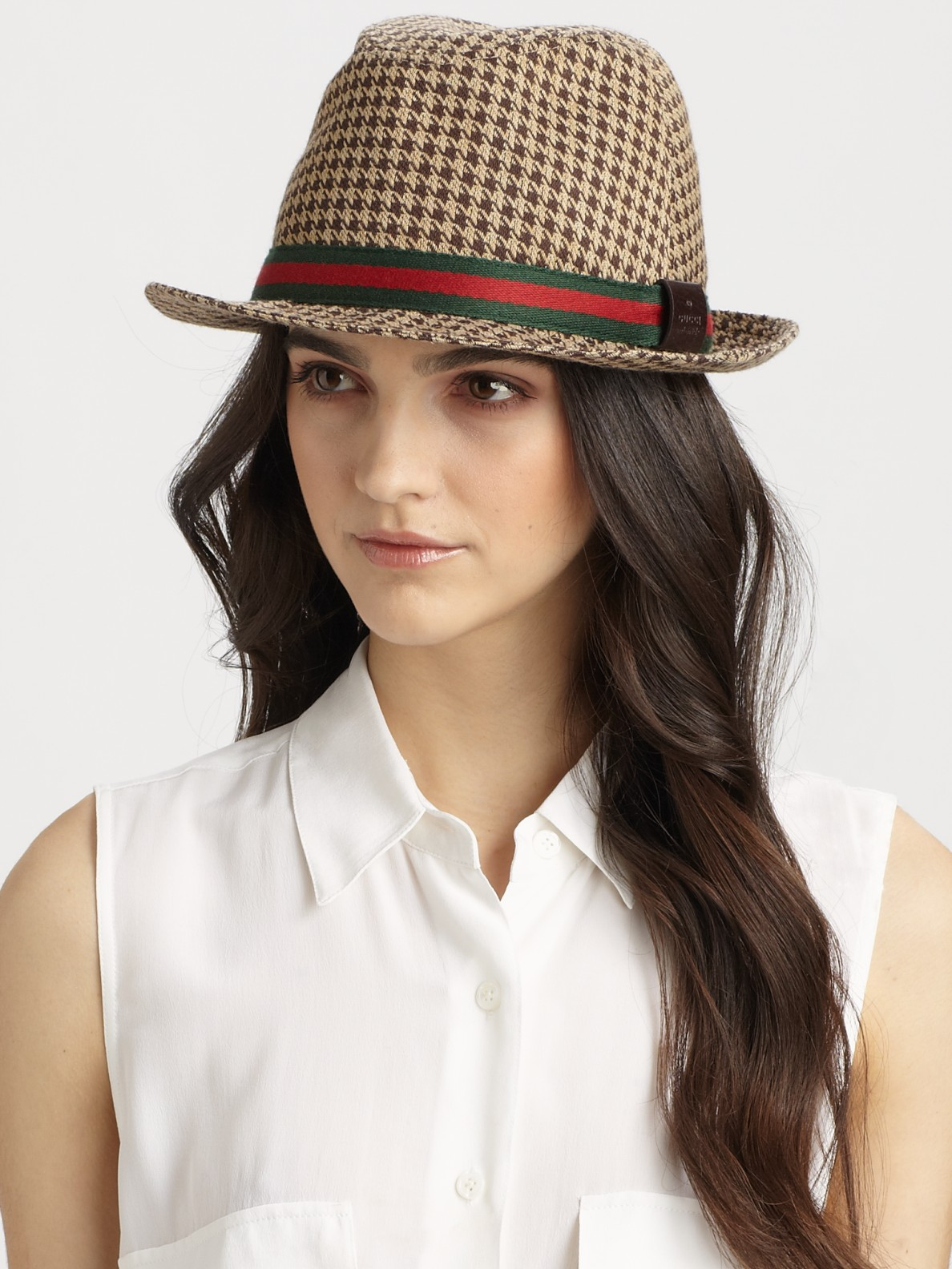 6f1a350c8e9 Lyst - Gucci Houndstooth Fedora in Natural