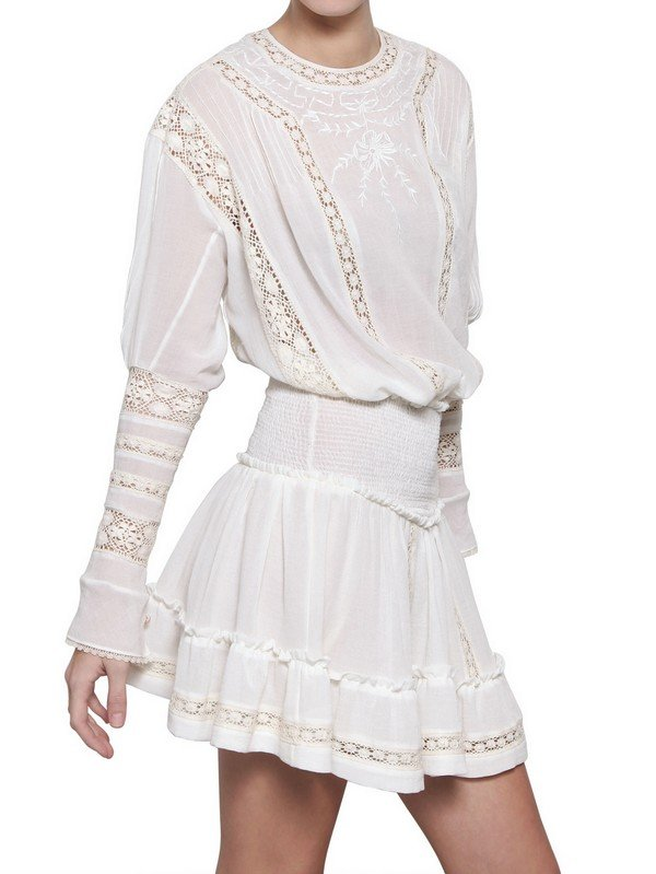 Lyst Isabel Marant Lace Cotton Crepe Dress In White