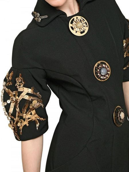 Marni Embroidered Wool Crepe Coat In Black Lyst