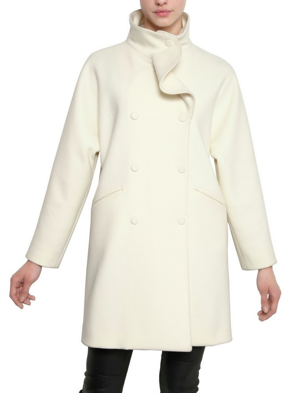 Valentino Wool Cloth Pea Coat In Ivory White Lyst