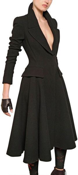 Alexander Mcqueen Double Wool Crepe Godet Coat In Black Lyst