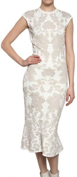 Alexander Mcqueen Wool Rayon Jacquard Peplum Dress in White