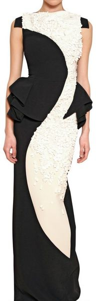 Antonio Berardi Embroidered Rayon Cady Long Dress in Black