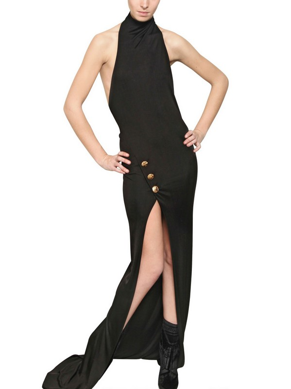 Balmain Halter Neck Viscose Jersey Long Dress In Black Lyst