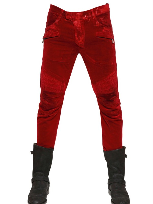 9dbe4c53 Balmain Waxed Velvet Quilted Biker Jeans in Red for Men - Lyst