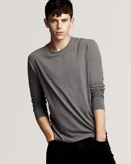 burberry brit check elbow patch longsleeve tee in gray for