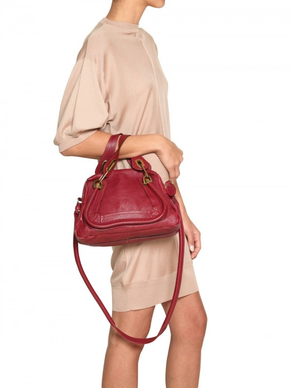 Chlo¨¦ Mini Paraty Grained Leather Top Handle in Red | Lyst