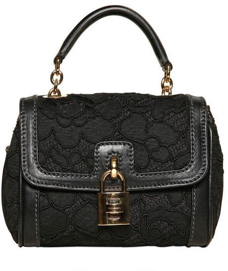Dolce & Gabbana Mini Dolce Bag Lace Leather Top Handle in Black